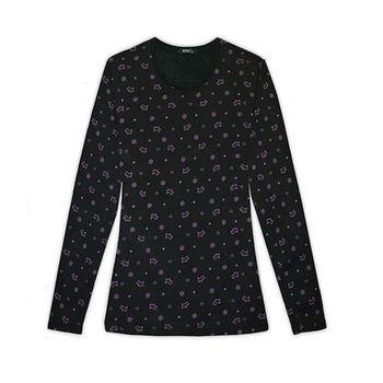【HENIS】女速暖絨彈性條紋印花圓領衫3件組-型(網)