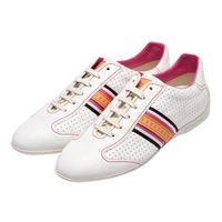 LOUIS VUITTON GO1017 LV壓印皮革飾邊綁帶休閒鞋(白X桃紅-36.5)