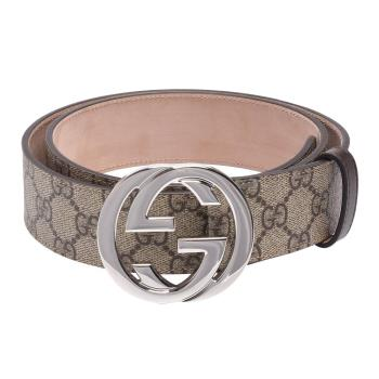 GUCCI 經典雙G金屬銀釦防水帆布皮革腰帶/皮帶(咖啡)