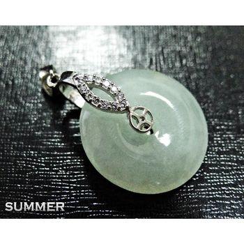 【SUMMER寶石】天然緬甸A貨翡翠平安扣項鍊(冰種放光-M8-152)