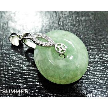 【SUMMER寶石】天然緬甸A貨翡翠平安扣項鍊(冰種放光-M8-155)