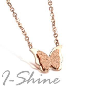 【I-Shine】閃耀舞蝶-西德鋼-磨砂蝴蝶鈦鋼項鍊