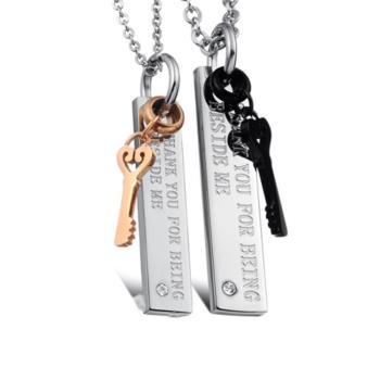 【I-Shine】愛情見證鎖-西德鋼-情侶鈦鋼項鍊(對鍊組)