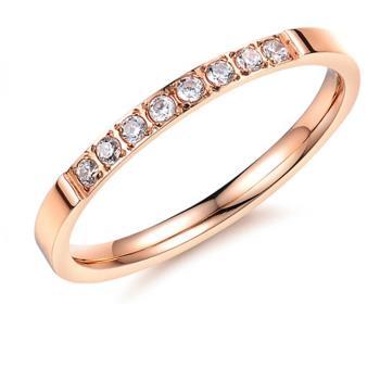 【I-Shine】通往幸福-八心八箭晶鑽玫瑰金鈦鋼戒指
