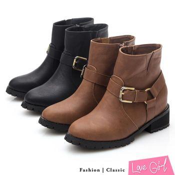 ☆Love Girl☆經典率性馬蹄扣內增高短靴