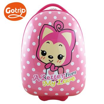 【GO TRIP 尚旅】 17吋 甜心粉 桃子卡通兒童行李箱/拉桿箱/登機箱