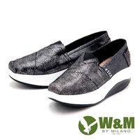 W&M BOUNCE系列 金屬質感亮面增高鞋 女鞋-黑(另有白)