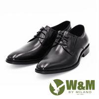 W&M真皮尖頭綁帶休閒男鞋皮鞋-黑