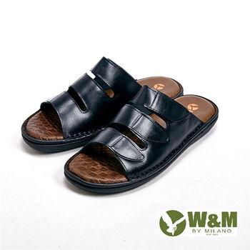 W&M涼爽三橫帶設計拖鞋 男鞋-黑(另有棕)