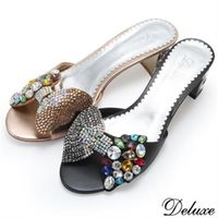 【Deluxe】施華洛士奇羊皮蝴蝶結水鑽跟鞋(黑★金)-809-1B