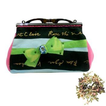 【HaLace創意手工拼布包】寶石綠蝴蝶結零錢包