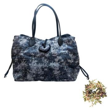 【HaLace創意手工拼布包】鐵藍牛仔布英字手提包