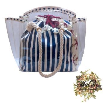 【HaLace創意手工拼布包】藍白條紋防水束口水手包