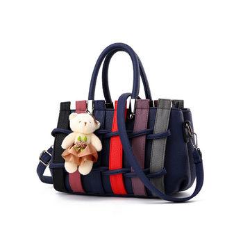 【L.Elegant】 韓版編織甜美肩背斜跨手提造型包 (共二色)