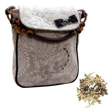 【HaLace創意手工拼布包】素色提花手拿包