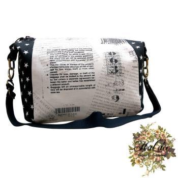 【HaLace創意手工拼布包】黑白配星辰斜背包