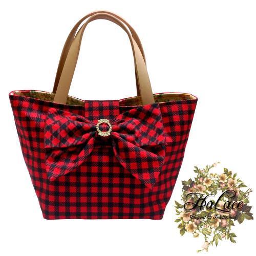 【HaLace創意手工拼布包】威尼斯紅水鑽蝴蝶結手提包(小)