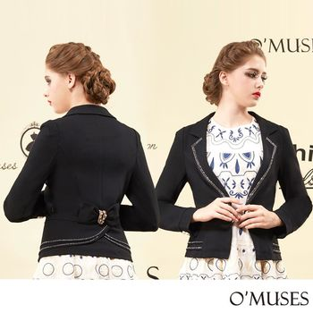【OMUSES】翻領排鑽西裝外套11-1616(S-2L)