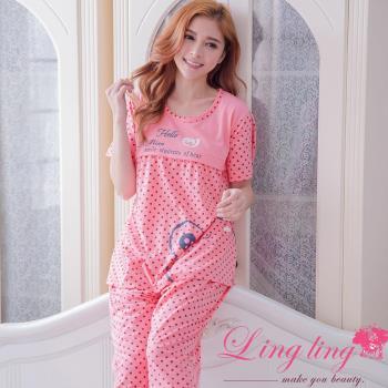 【lingling日系】全尺碼-可愛青蛙圓點孕婦裝居家短袖二件式睡衣組(甜蜜深粉)A2923