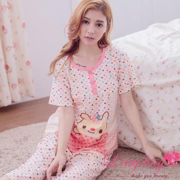 【lingling日系】全尺碼-草莓兔格紋愛心孕婦裝居家短袖二件式睡衣組(淺桔粉)A2912