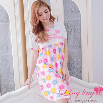 【lingling日系】全尺碼-立體英字蕾絲圓點哺乳孕婦連身裙睡衣(元氣粉)A2907-01