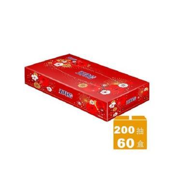 五月花 日式扁盒面紙-煙火版200抽x60盒/箱