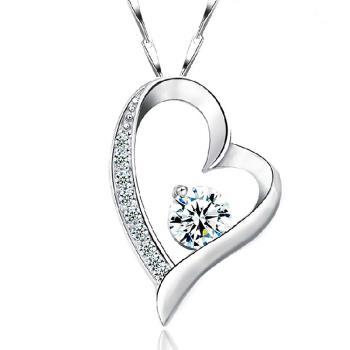 【I-Shine】心扉之吻-正白K-晶鑽經典項鍊(銀白)-現貨