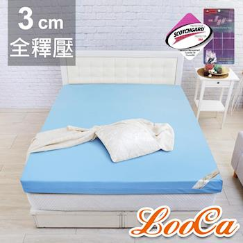 搭贈冰涼墊 LooCa 雙認證竹炭3cm記憶床墊-單大3.5尺