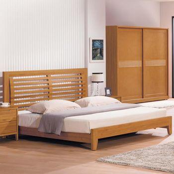 【時尚屋】[G17]米堤柚木色5尺床片型雙人床G17-A002-1不含床頭櫃-床墊
