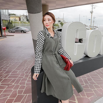 MurMur~韓國空運 抽繩繫腰單排釦 長版背心洋裝-共三色(預購)