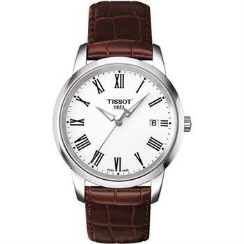 TISSOT CLASSIC DREAM 羅馬皮帶腕錶-銀/38mm T0334101601301