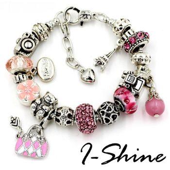 【I-Shine】真心愛-潘朵拉風-晶鑽琉璃串珠吊墜手鍊