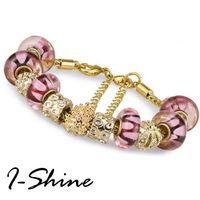 【I-Shine】專屬愛-琉璃晶鑽串珠鈦鋼鍍金手鍊