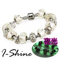 【I-Shine】決定愛-潘朵拉風 夜光琉璃串珠晶鑽手鍊