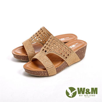 W&M格紋雕花 直套式拖鞋女鞋-金(另有黑)