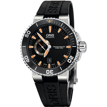 Oris Aquis 陶瓷框500米潛水機械腕錶-黑x橘時標/46mm 0174376734159-0742634EB