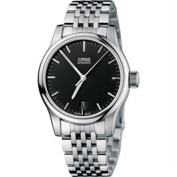 ORIS Classic 經典三針機械鋼帶腕錶-黑/36mm 0173375784054-0781861