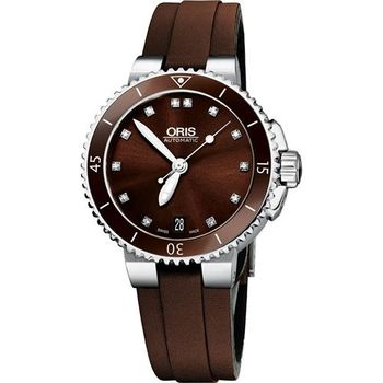 Oris Aquis 專業潛水真鑽機械女錶-咖啡/35mm 0173376524192-0751812FC