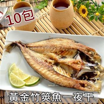 愛上新鮮-黃金竹筴魚一夜干10包 (2隻/包)