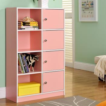 【咱的厝】DIY弗雷八格四門櫃/書櫃/置物櫃/收納櫃(粉色)