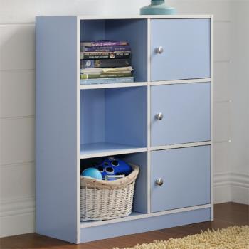 【咱的厝】DIY弗雷六格三門櫃/書櫃/置物櫃/收納櫃(藍色)