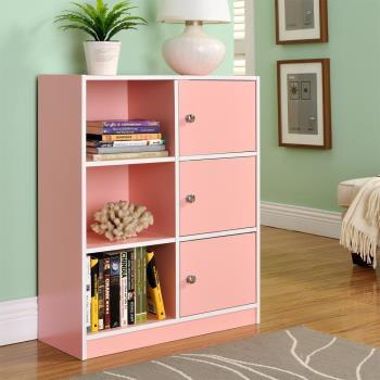 【咱的厝】DIY弗雷六格三門櫃/書櫃/置物櫃/收納櫃(粉色)