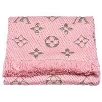 LOUIS VUITTON M70466 Monogram LOGOMANIA SHINE金銀紗羊毛針織圍巾(粉紅)