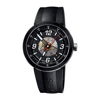 ORIS TT1 競速陶瓷時尚鏤空機械腕錶-黑/42mm 0173376684114-0742506