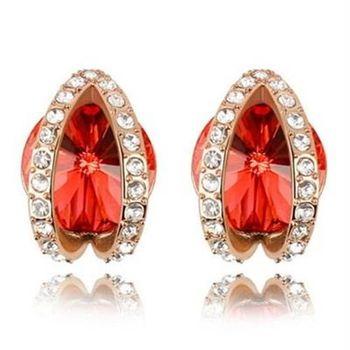 【米蘭精品】水晶耳環925純銀耳針式鑲鑽別緻精美高貴3色73bd131