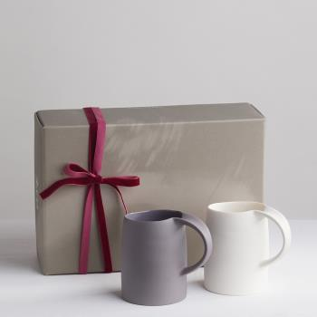 3 co水波馬克杯禮盒組(2件式)  白+灰