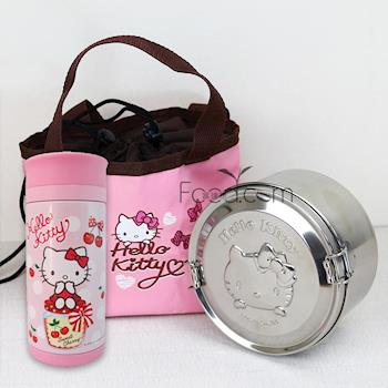 【Hello Kitty】凱蒂貓不鏽鋼便當盒+250ml真空隨手杯野餐組合(KS-8135+KF-5603)