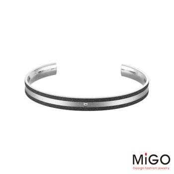 MiGO 星空施華洛世奇美鑽/白鋼手環-大(黑)