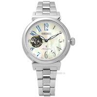 SEIKO 精工 / 4R38-01E0S.SSA839J1 / LUKIA 亮麗珍珠母貝藍寶石玻璃機械不鏽鋼手錶 銀色 34mm