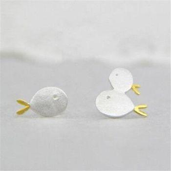 【米蘭精品】925純銀耳環耳針式耳飾韓版可愛小魚73ag62